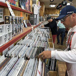 Record shopping at Pitchfork Records in Concord, NH over Labor Day.