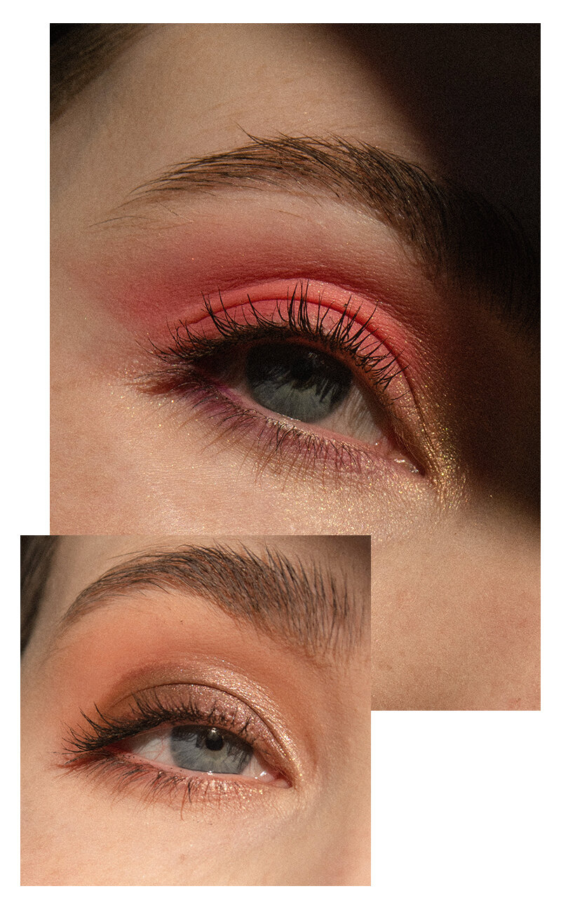 Top look is Supreme all over the lid, Trust Issues in the inner corner and Big Wig along the bottom lash line. Bottom look is Ginger in the crease, Lituation on the outer lid, Soleil at on the inner lid and Credit on the lower lash line.
