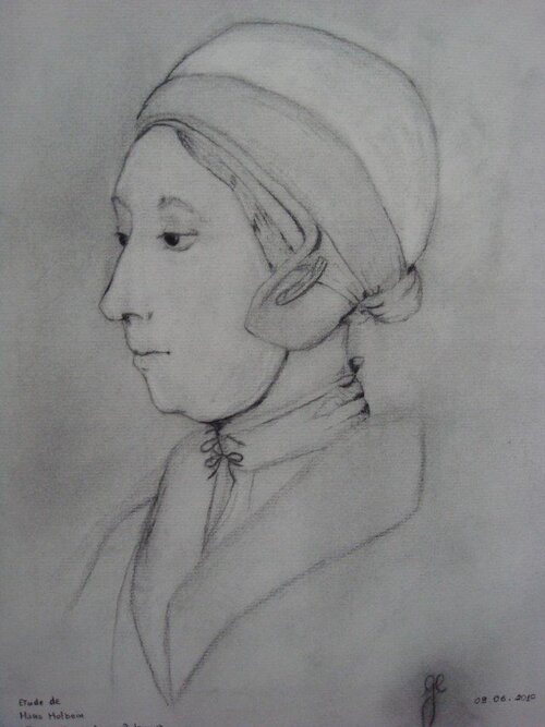 'Ann Boleyn' - fusain d'après l'oeuvre de Holbein