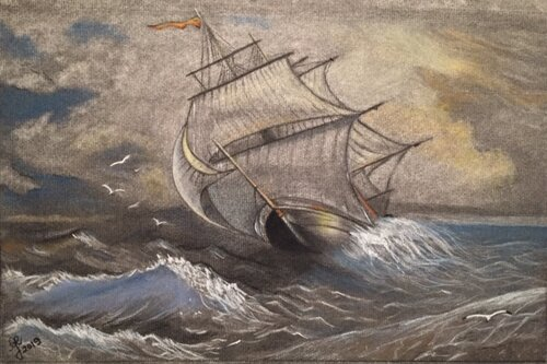 'La tempête de la vie' - Fusain et pastel sec