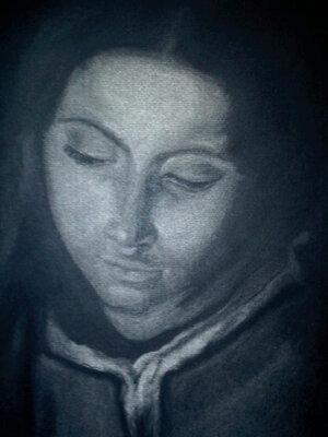 'L'adoration des pasteurs' - fusain d'après l'oeuvre de Murillo