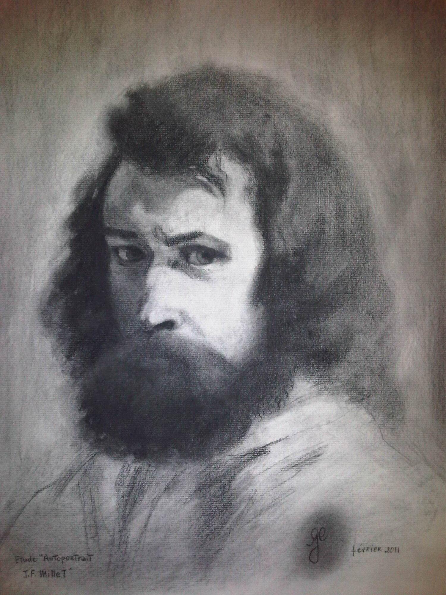 'Autoportrait JF Millet' - Fusain