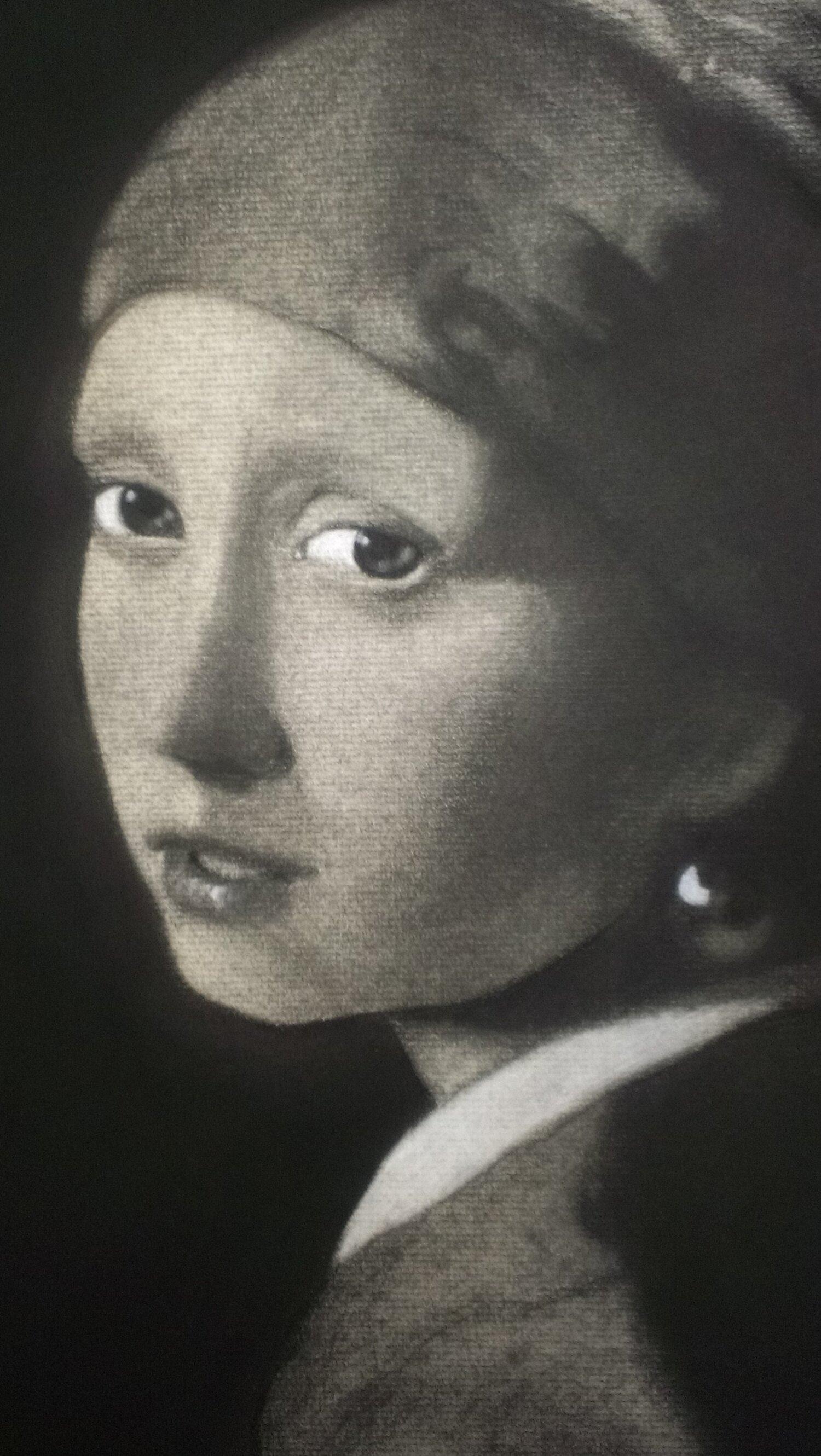 'La jeune fille à la perle' - fusain d'après l'oeuvre de Vermeer
