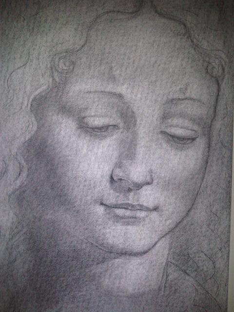 'Tête de femme' - fusain d'après l'oeuvre de Da Vinci