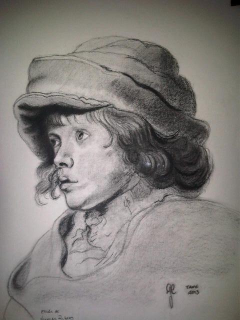 'Garçon' - fusain d'après l'oeuvre de Rubens