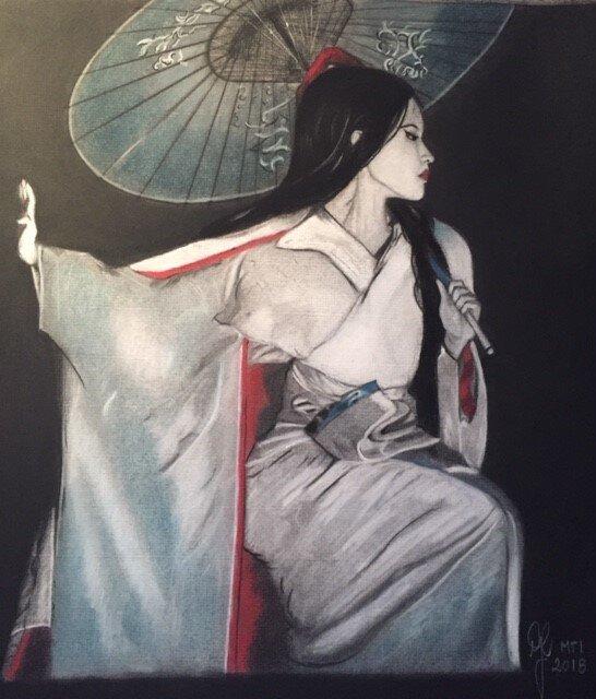 'Dancing Geisha' - Fusain, craie & pastel