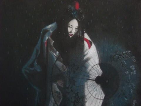 'Geisha' - Fusain, craie & pastel