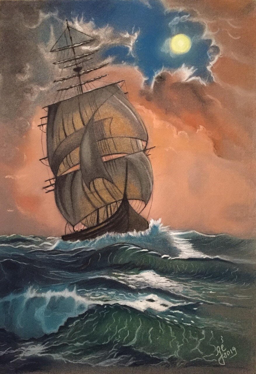 'Storm' - Pastel & fusain