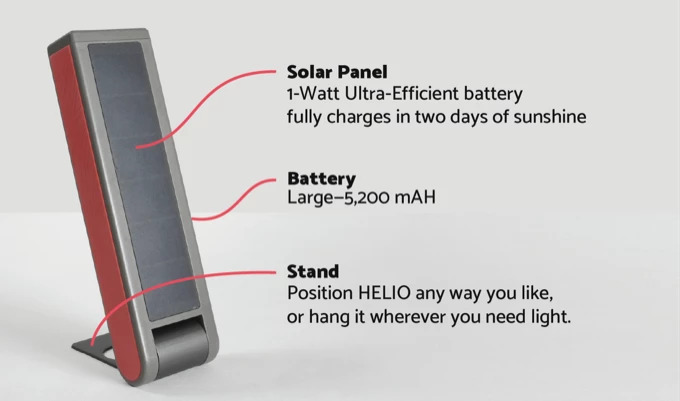 HELIO solar panel, LI-Ion battery and stand