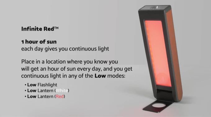 solar lantern with infinite red mode lighting
