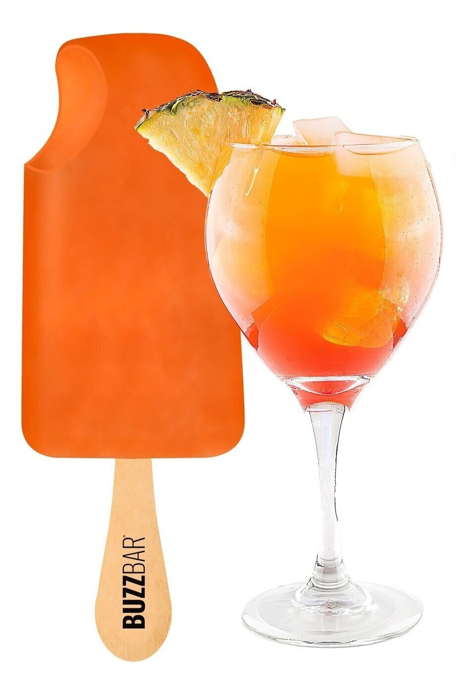 Pineapple Buzz - Taste the Islands on your tongue with a refreshing tropical fruit sorbet blended with spiced rum. Enjoy an umbrella drink on a stick.
