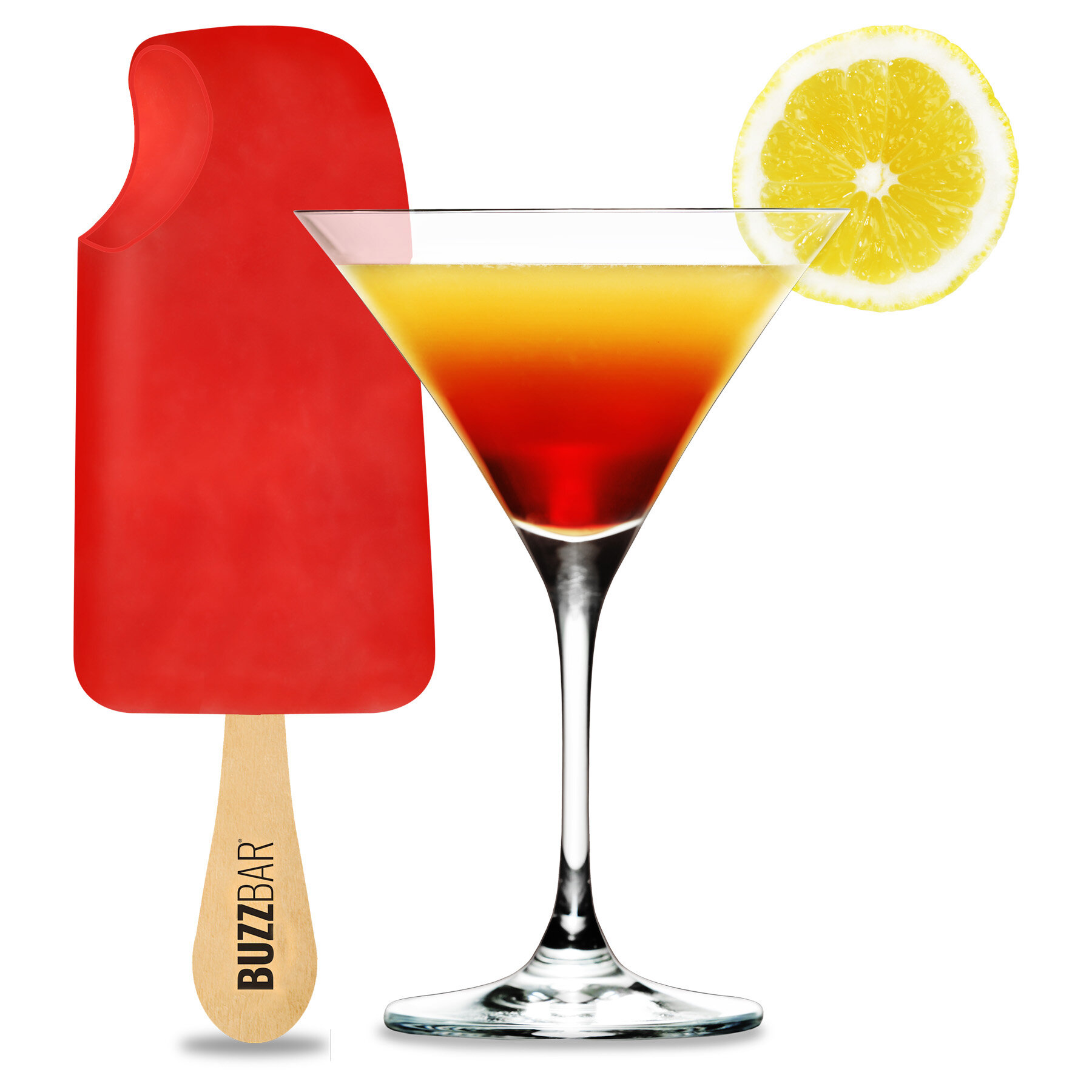 Citrus Berry Drop - Tantalizing fresh lemons fused together with ripe raspberries and smooth vodka, chilled into a refreshing sorbet. A glamorous and sophisticated Cosmopolitan on a stick.