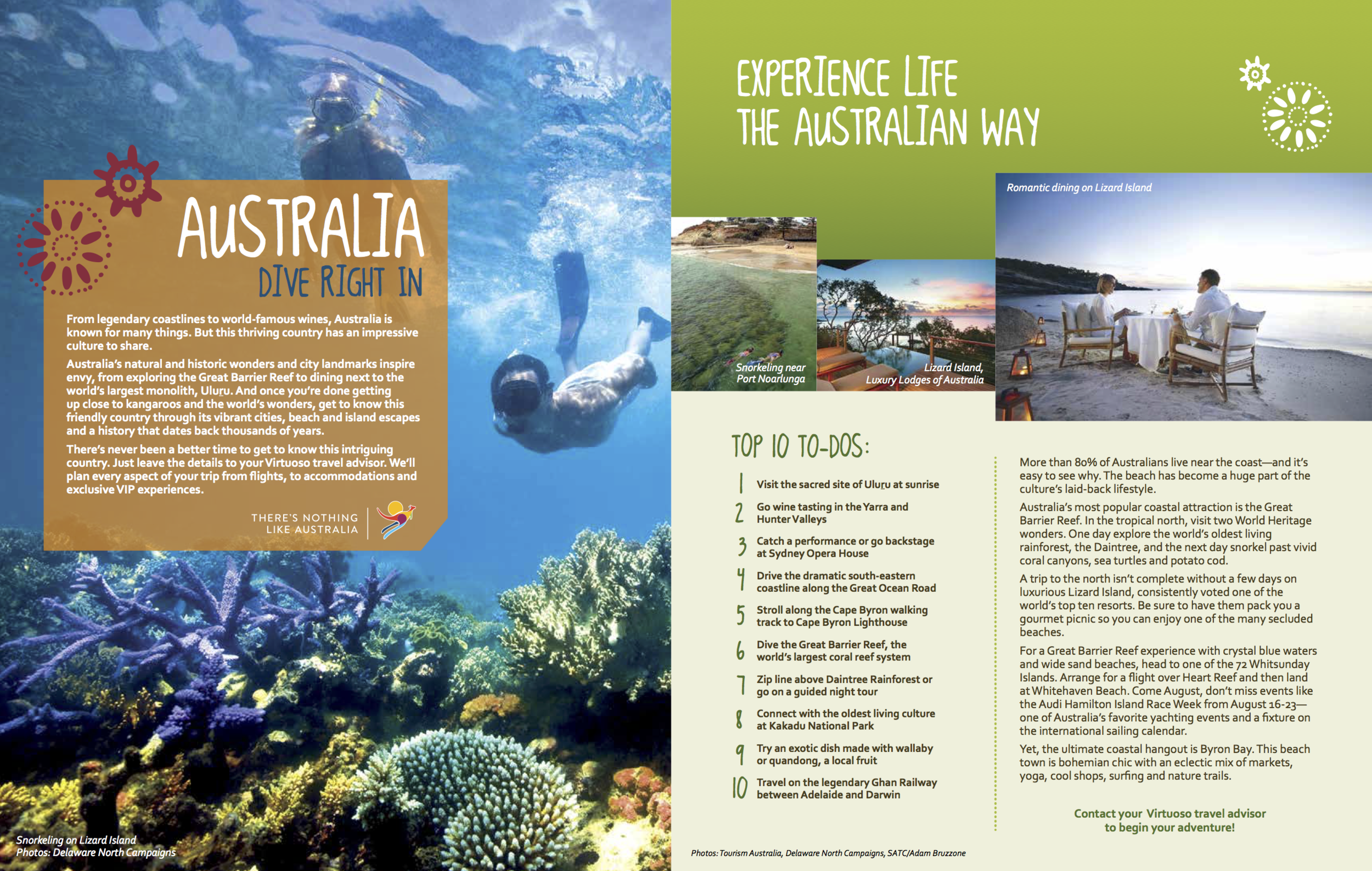 Client: Virtuoso in partnership with Australia Tourism; Full-page insert, 2014