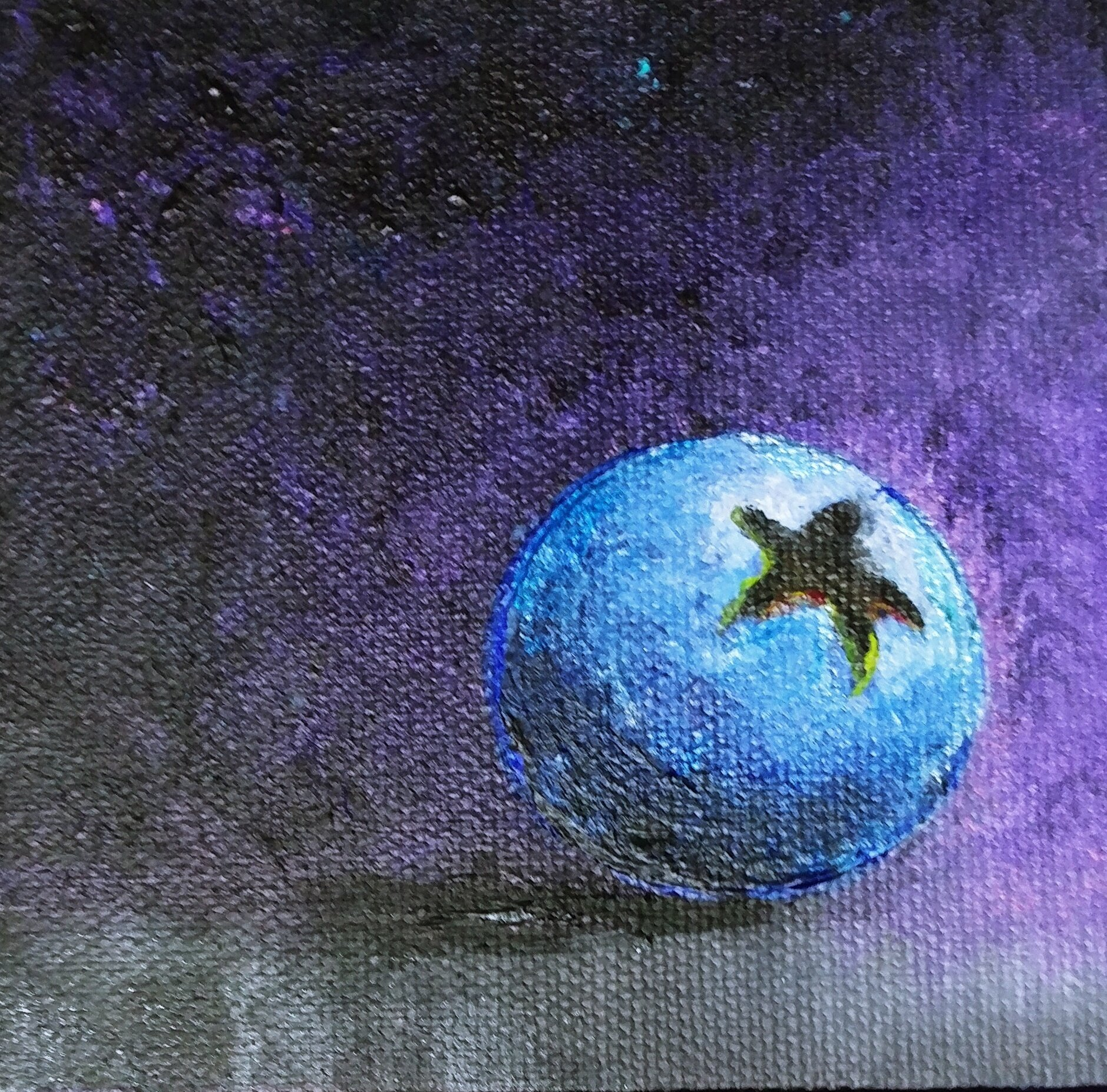 "Nicci's Blueberry 2018 acrylic on canvas 4"" x 4"""