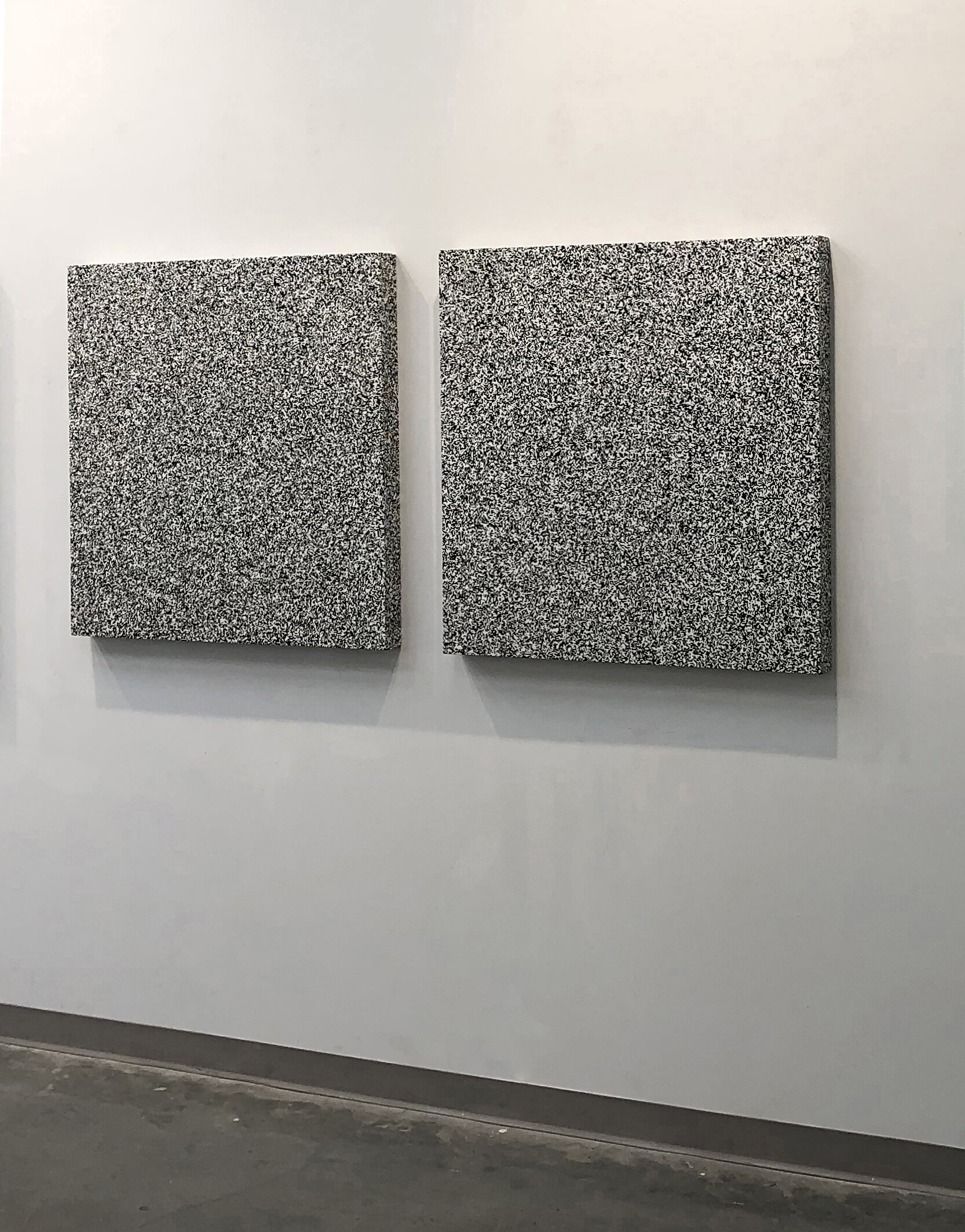 Michael Edward Miller  Static (diptych prototype) , 2018, (36 x 36 x 2 5/8 in) x 2, stencilled spray paint on panel