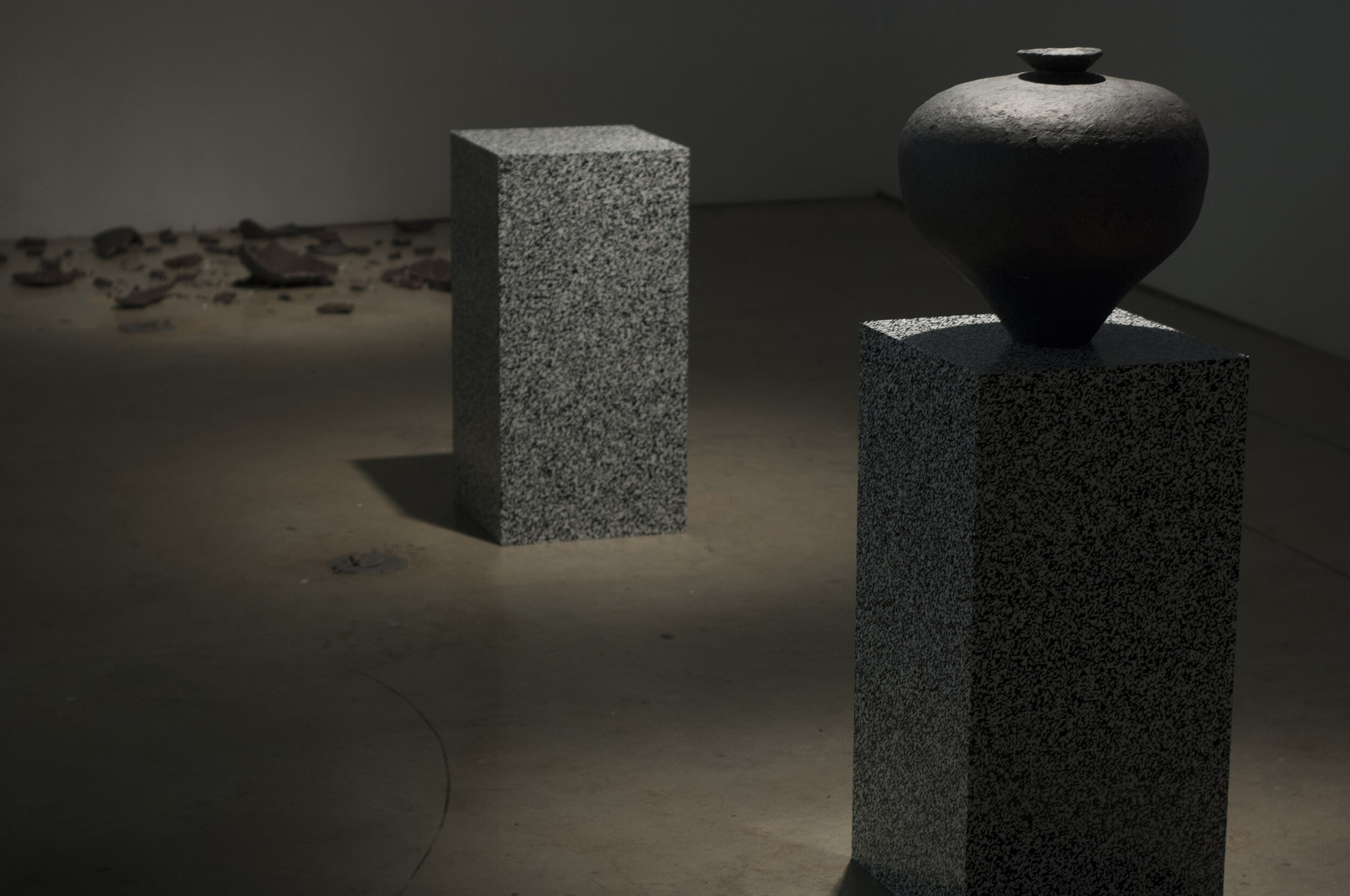 Michael Edward Miller  Level One: Agency (prototype) , 2017, hand-coiled reduction fired storage jars with granite feldspar, large smokey quartz crystals, patterned vinyl, MDF plinths, digital timer, sound, light, players