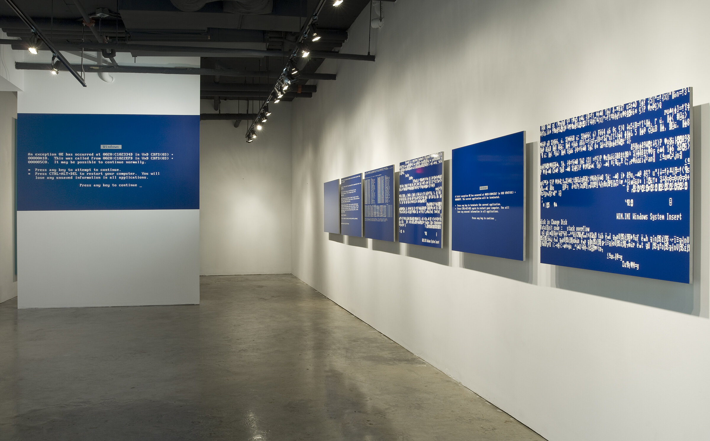 Michael Edward Miller  BSoD , 2014, spray paint on powder-coated, sandblasted, half-inch thick aluminum sheets