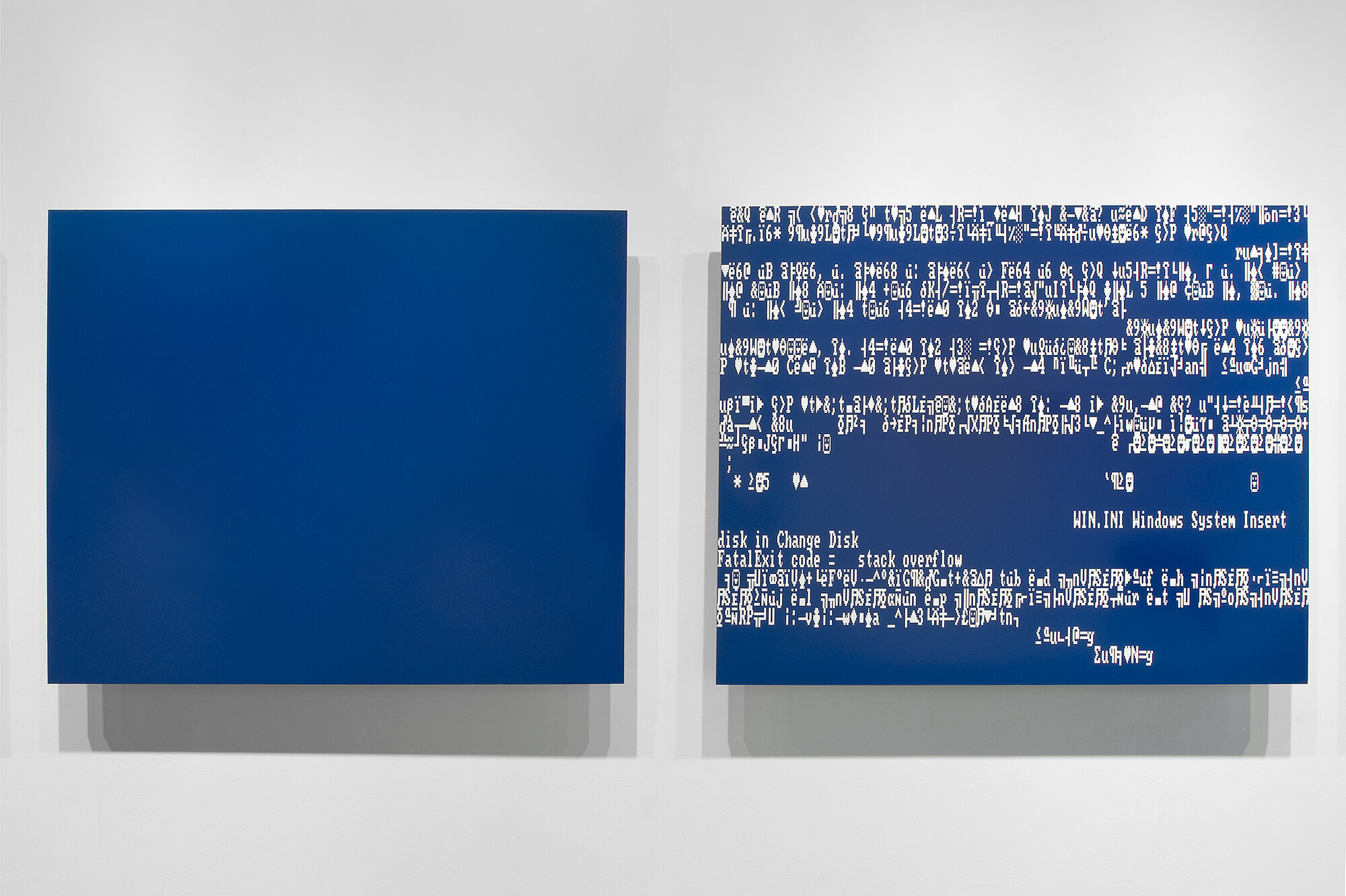 Michael Edward Miller  BSoD (diptych) , 2014, spray paint on powder-coated, sandblasted, half-inch thick aluminum sheets