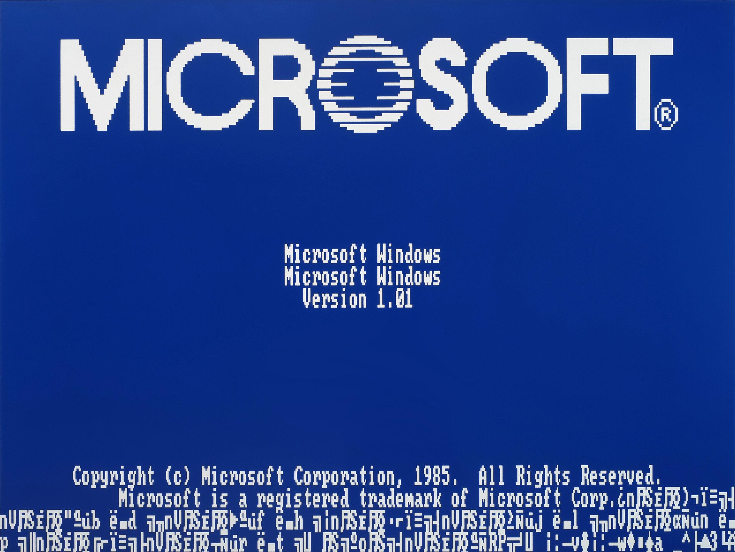 "Michael Edward Miller  Microsoft Windows Microsoft Windows , 2014, spray paint on powder-coated, sandblasted, 1/2"" thick aluminum sheet"