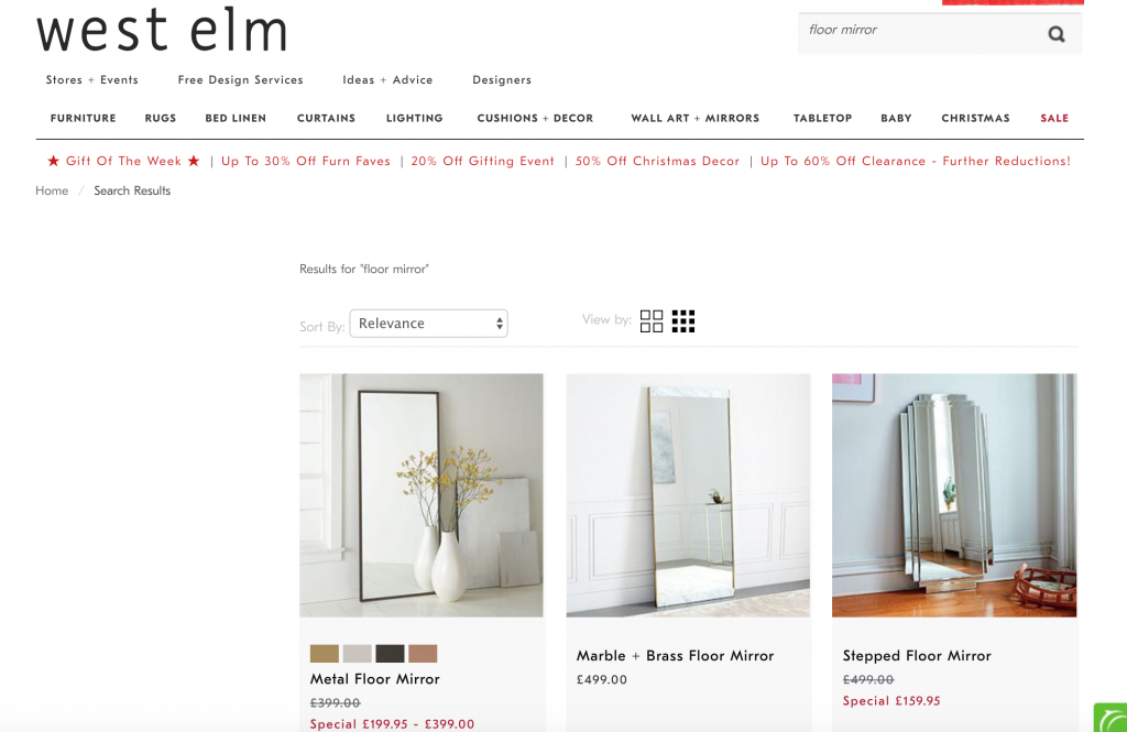 Could be better: this West Elm search results page doesn't allow users to filter results