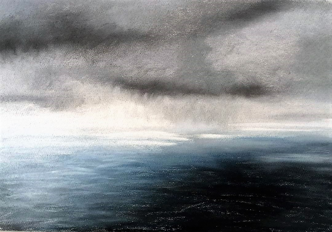 Storm over Plymouth Sound, pastel - SOLD