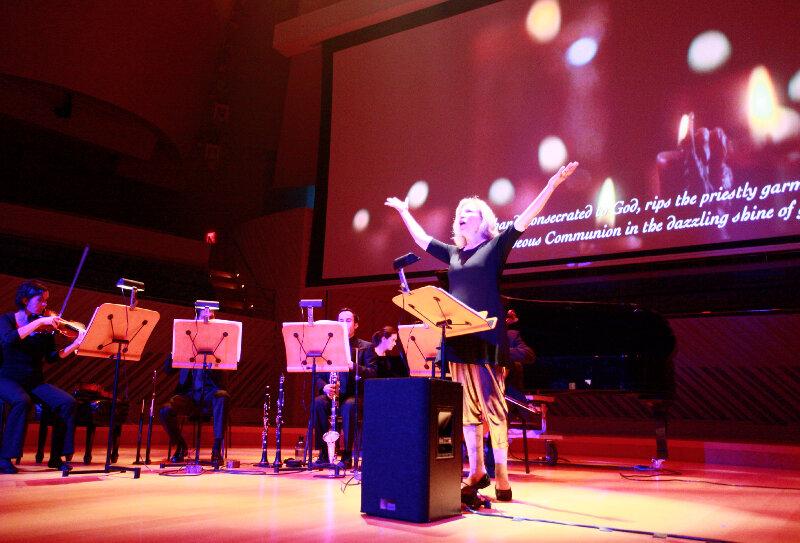Pierrot Lunaire, Op 21 by Schoenberg. Paula Robison, Sprecherin with members of the New World Symphony. Miami, 2012.