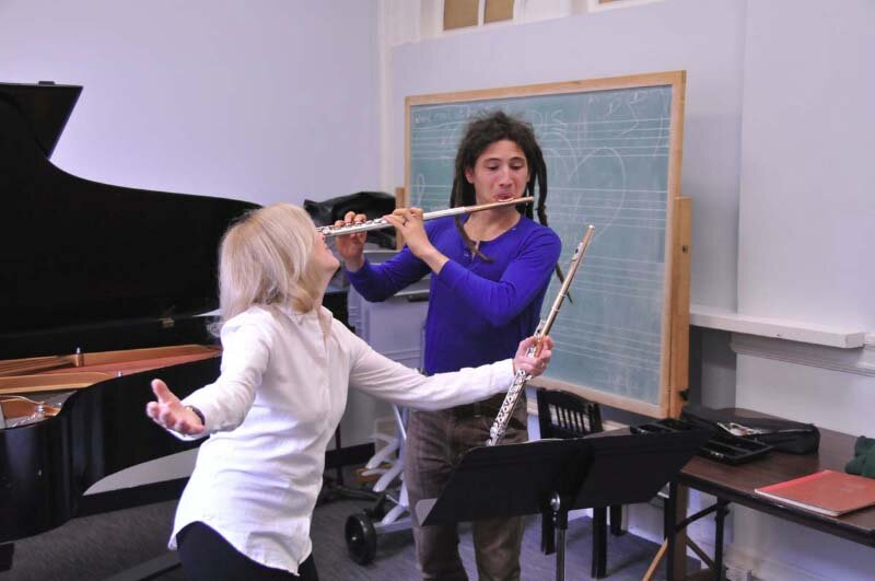 with Irineo Cabreros at New England Conservatory, Boston, MA. Photo Andrew Hurlbut.