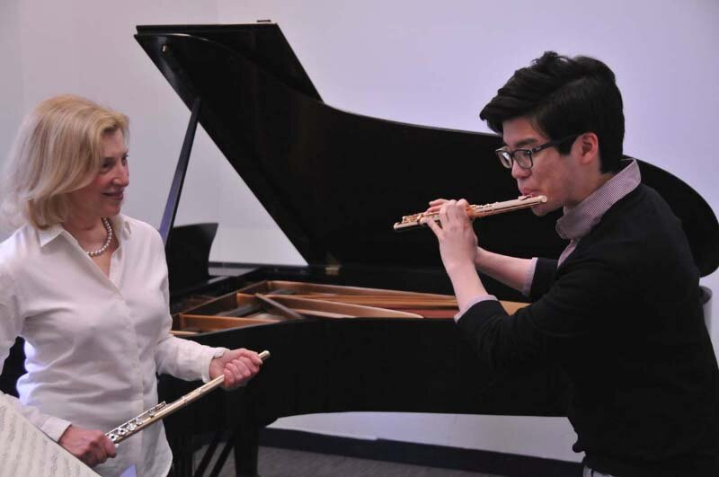 with Sungwoo Kim at New England Conservatory, Boston, MA. Photo Andrew Hurlbut.