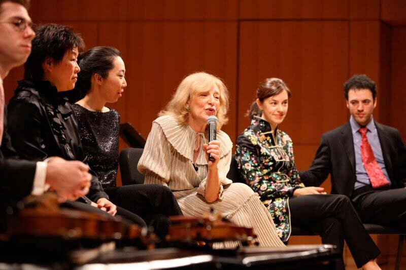 "Discussing Schoenberg's ""Pierrot Lunaire"", CUNY, New York. Photo Sirin Samman."
