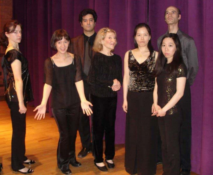 """Pierrot"" at Cornell University (left to right): Miranda Cuckson, Michel Galante, Paula Robison, Joanna Cho, Greg Hesselink, Sooyun Kim."