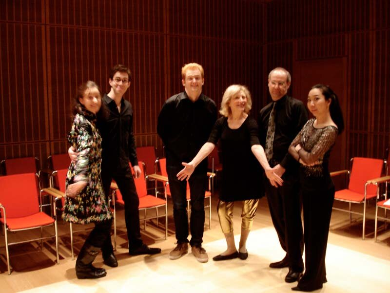 """Pierrot"" at Calderwood Hall (left to right): Carol McGonnell, David Fulmer, Steven Beck, PR, Michael Kannen, Sooyun Kim. Calderwood Hall, Isabella Stewart Gardner Museum, Boston MA."