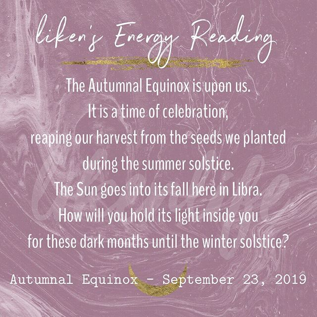 How to use the🍂Autumnal Equinox🌞video coming out tonight! (Link in bio)  Come learn about the astrology🌙of the equinox,👁the archetypal energies of the Pagan🌻Mabon celebration, crystal and herb suggestions for your rituals, and ritual guidance for the equinox!🍁💫 🌗Don't miss this beautiful time of year when the light and dark is in perfect balance🌓, the energy is ripe and ready for your magick, loves!☯️✨ 🗝🍁Equinox peaks tomorrow 9/23, but this energy is potent all week and through this fall season.♎️How will you harness this energy over the next couple days?🌞🌙✨ #autumnalequinox #equinox #equinoxenergy #astrology #energyreading #witch #witchesofinstagram #pagan #mabon #harvest #libra #libravibes #venus #suninlibra #sun #♎️ #🌞