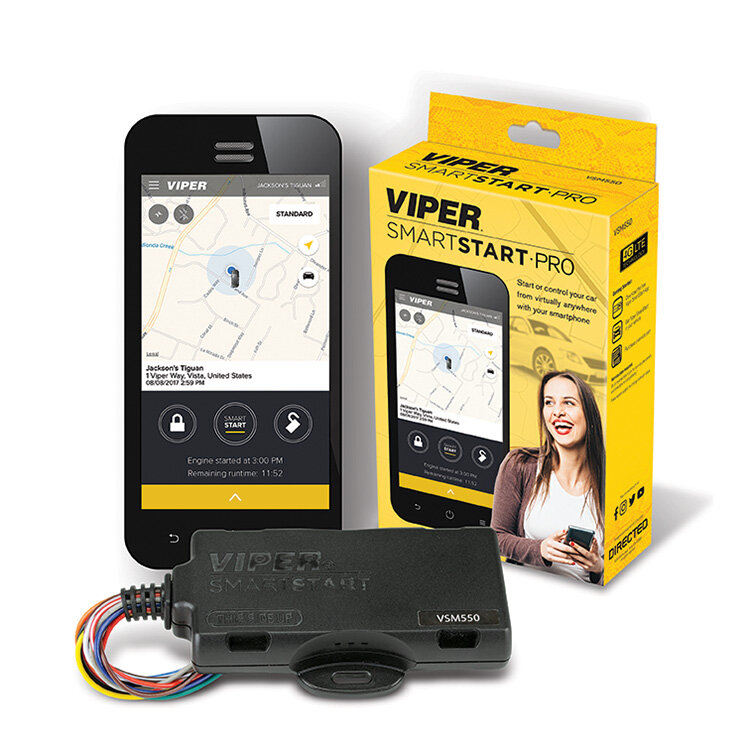 Viper VSM550-ProSmartStart System - Get everything you need for a complete Viper remote start system, including Viper SmartStart and 1 year secure service in a single box. Combines the top of the line DS4+ digital remote start system and Viper SmartStart GPS module.1 Year of Secure service included!Viper SmartStart GPS capableRemote start systemKeyless entryVirtually unlimited range!