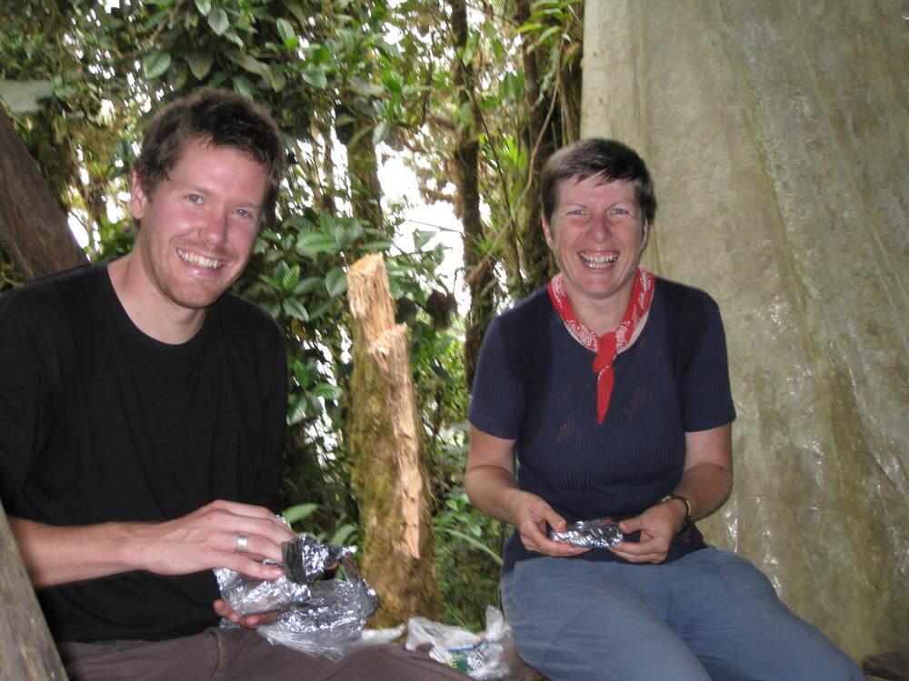 Ann with a fellow student in Ecuador.