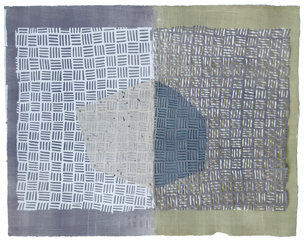 """Weave Diptych VI – Monotype and stencil  print, cut paper, embroidery, collage, 20""""x16"""", 2019"""