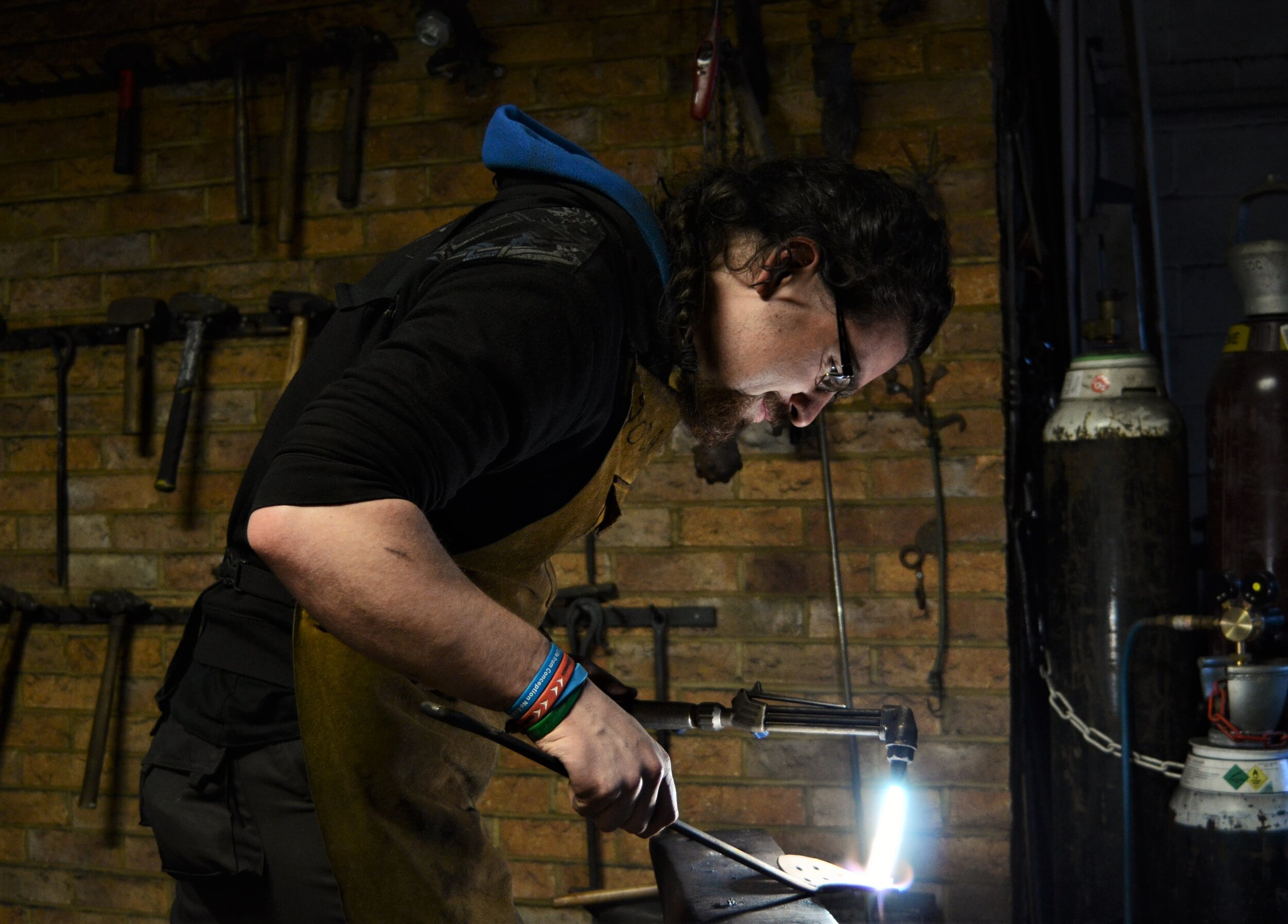 Aidan - blacksmith - Aidan is a talented blacksmith. He joined us a few years ago for work experience before studying blacksmithing at Hereford and then returning to share his knowledge.