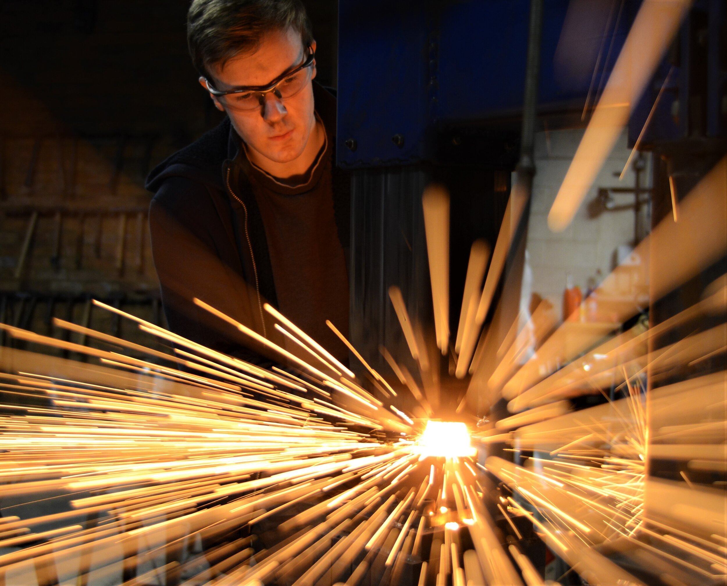 Alex - Guest tutor - Alex is a very competent young blacksmith that has an excellent grasp on all the technical aspects of metalwork and is keen to share his knowledge. He is also a keen photographer and took most of the photos you see on our website, including the ones of himself!