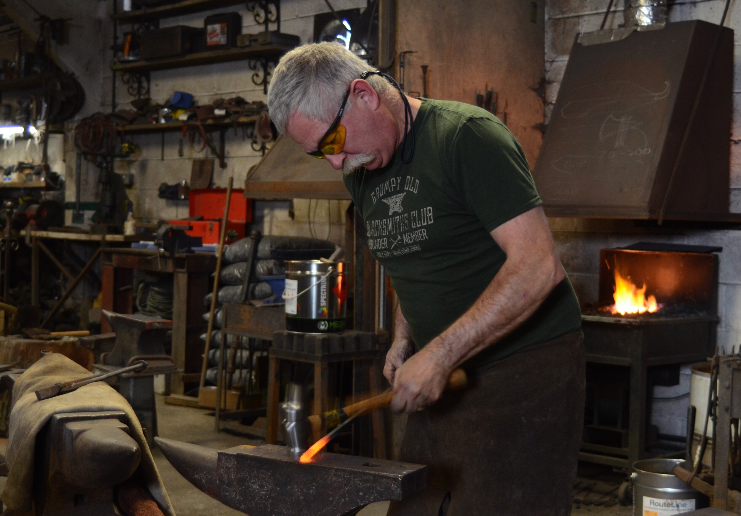 paul - guest tutor - Paul comes from a military background and is actually only semi-retired from the Army.Paul helps us on a Ad hoc basis and a knowledgeable blacksmith with many years of experience.