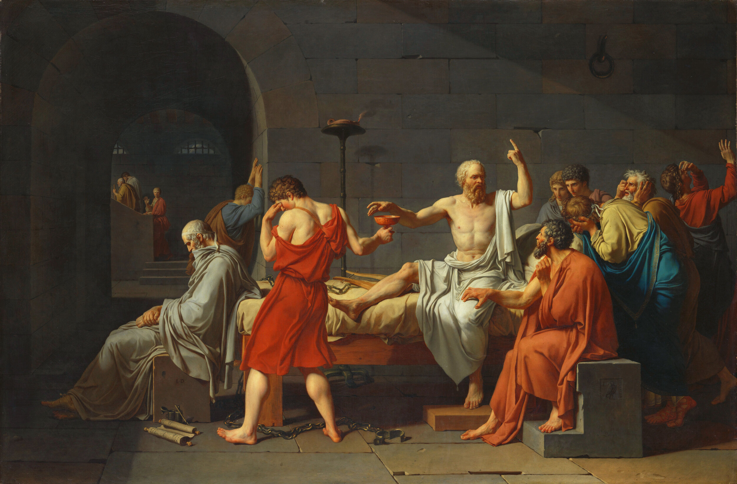 Jacques-Louis David, The Death of Socrates, 1787, oil on canvas, 130x196, the Collection of the Metropolitan Museum of Art, New York.