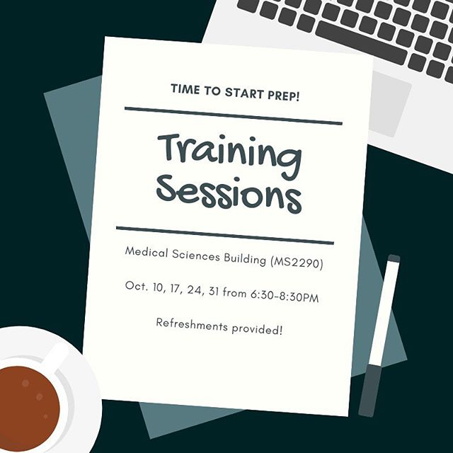 We will be holding training sessions every Thursday this October to help you and your team with competition prep! Come out and get the training/info you need to kill this competition!