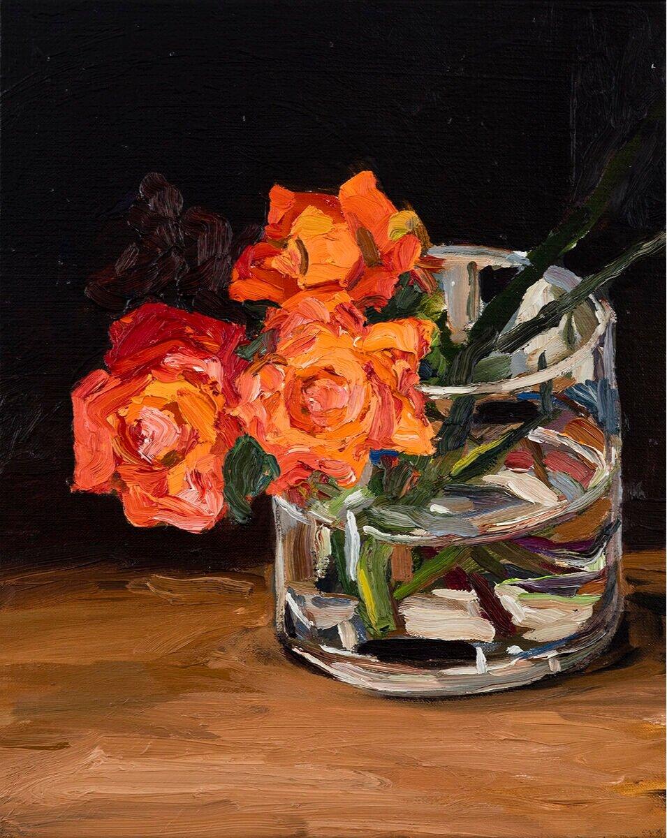 Three cadmium roses
