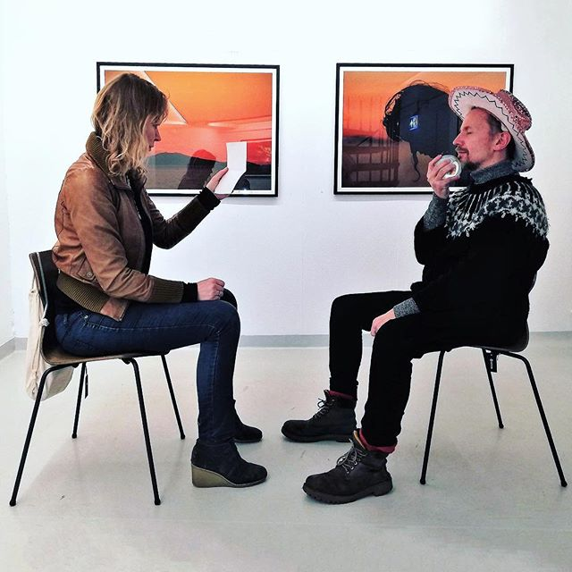 """For Your Eyes Only"" , a one on one performance series by the #performanceArtist Ásdís Sif , pictured here with the Author, Sindri Freysson aka @zindrif . Sign up today for your own 1on1 performance Sunday at @geysir_heima . #4urEyesOnly_ASG"