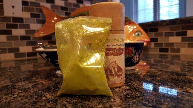 Plastic bag full of Matcha Zen Brand's Ceremonial Grade Matcha Tea, on Kitchen Counter