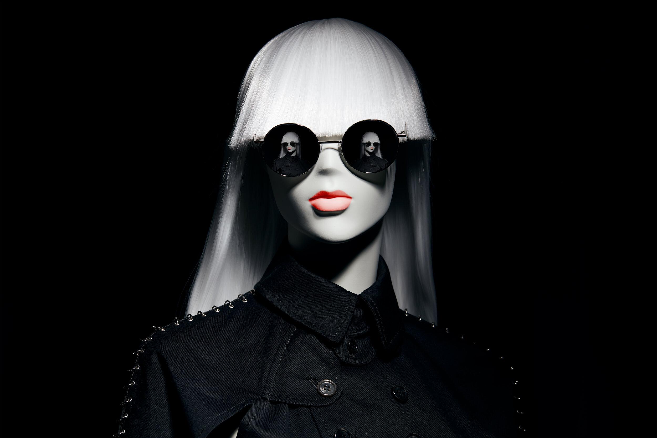 Io wearing Gentle Monster and Comme des Garçons Noir Kei Ninomiya - London, 2019