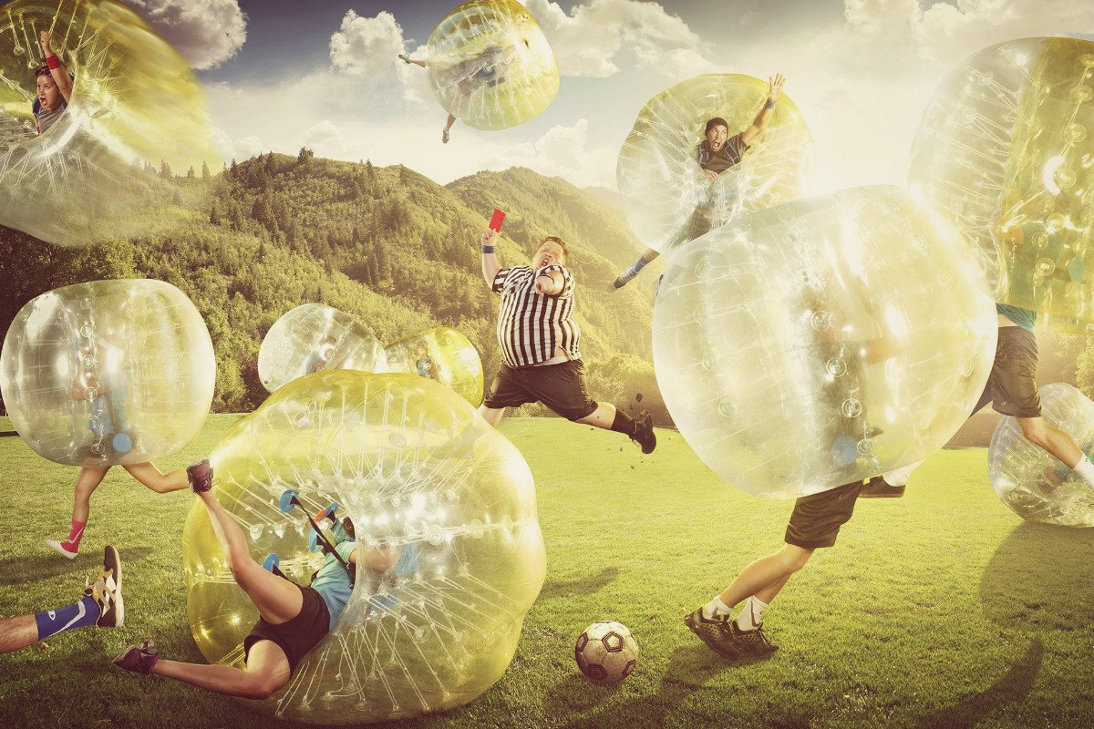 Zorb Football - There is a football involved but lets be honest, its not really about scoring goals in this game. Get geared up in your zorb and take a running charge at the opposition in this crazy, hilarious sport. The whole team is guaranteed to be in fits of laughter as you see your mates flying head over heels. You're sure to get knocked down, but will you get up again?