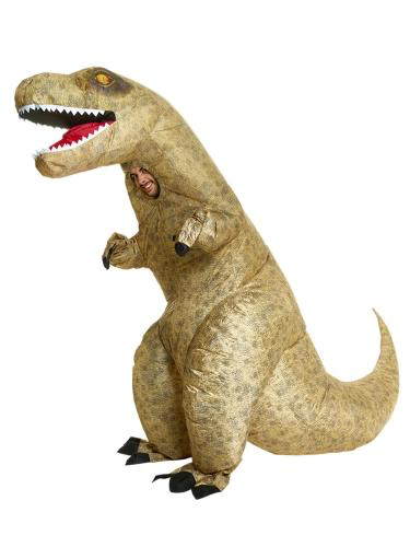 Inflatable T-rex - Become an instant sensation in this Giant Inflatable T-Rex Costume ! This rex will certainly get you noticed - and it's always hilarious! With tiny arms and an oversized head, everything in this suit has instant comedy value!Important:Batteries NOT included - Powered by a battery-operated fan, - Requires x4 AA batteriesChest Size: 38-46