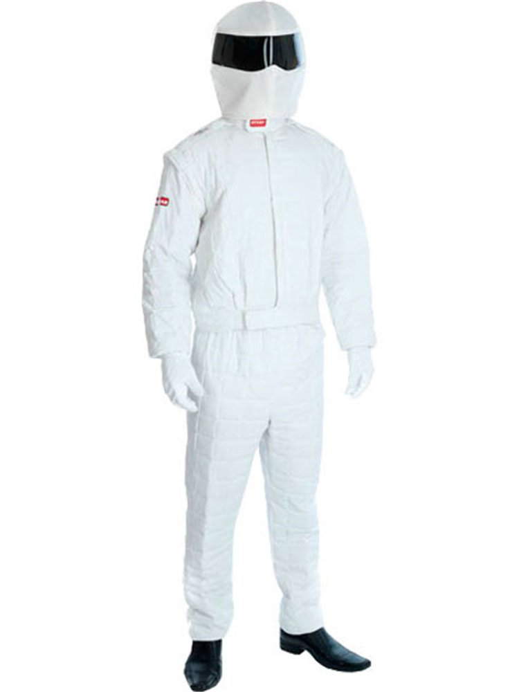 The Stig -  Includes:- A white, quilted jacket.- Matching trousers.- A pair of white gloves.- Fabric racing helmet.Excludes:- ShoesSize:Small: Chest: 34