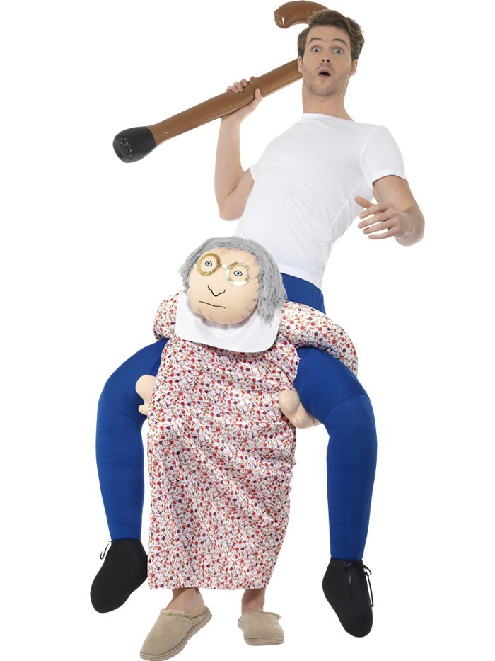 Piggy Back Grandma - With our Grandma Piggyback Costume, you're guaranteed to have all eyes on you at your next costume party! You'll also mystify everyone half to death - the piggy back illusion is quite brilliant, if we do say so ourselves...You can put our piggy back fancy dress costumes on over what you're already wearing.Stuff the legs with crumpled newspaper, and you have an amazing ride on costume that's so easy to wear!Size:Size: 36-40