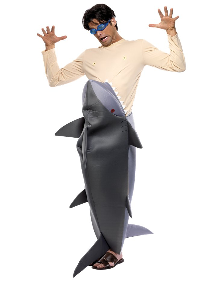 Man Eating Shark - Make a splash, show your funny side and get giggles galore wearing our hilarious 'Man Eating Shark' costume.This novelty costume consists of an all in one bodysuit with velcro fastening to back.The bottom part of the suit is a polyfoam, man-eating shark with fins, eyes, teeth and generous slits to sides for comfort and movement.The attached tunic is made from flesh coloured, stretch fabric and goggles have been included for full effect.This costume is great for making a big impression at any beach themed party and guaranteed to bring plenty of laughs to any occasion.Size:Size: 38-40
