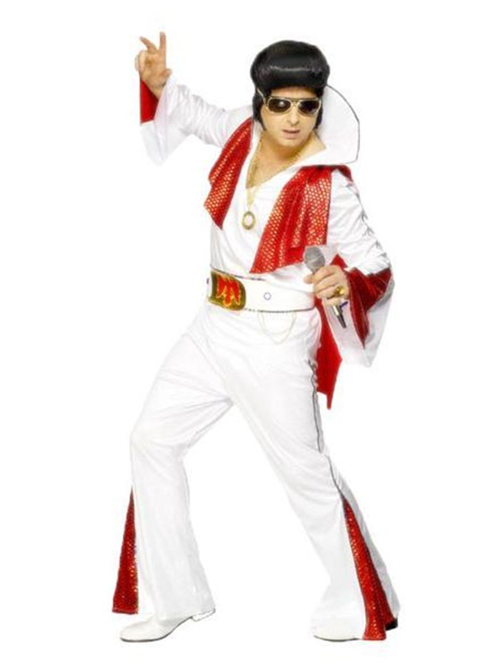 Elvis - Make a show stopping entrance and become the king of Rock 'n' Roll with this four piece, officially licensed 'Elvis Presley' costume.The costume consists of a white top with long, flared sleeves with red inserts and sequin trim along with his large, signature, stand-up collar.A pair of white flared trousers with co-ordinating, red inserts, matching sequin trim and elasticated waist for comfort.Also included to complete the iconic look is a red, shimmering cape which attaches with velcro to shoulders, along with a broad, PVC look belt with adjustable velcro fastening, jewel and sequin trim and eagle print to front, a perfect tribute costume, celebrating the legendary Elvis Presley.Size:Size: 38-40